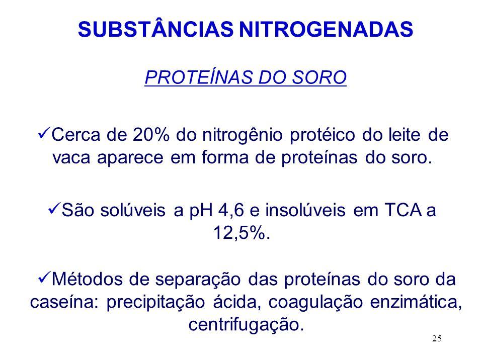 25 SUBSTÂNCIAS NITROGENADAS PROTEÍNAS DO SORO Cerca de 20% do nitrogênio protéico do leite de vaca aparece em forma de proteínas do soro. São solúveis