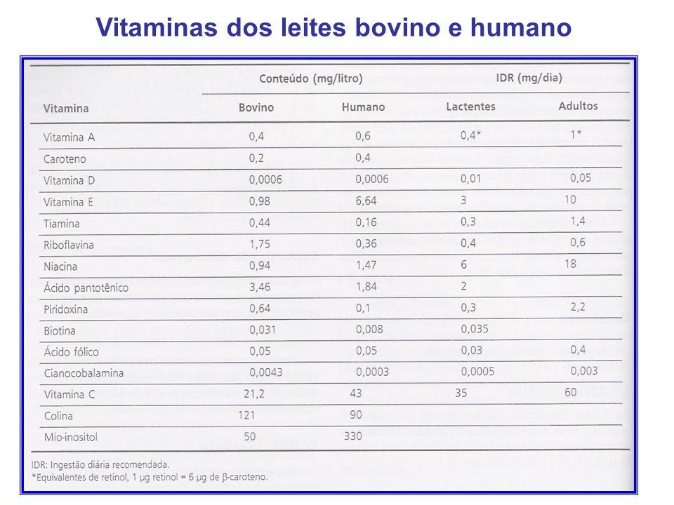 28 Vitaminas dos leites bovino e humano