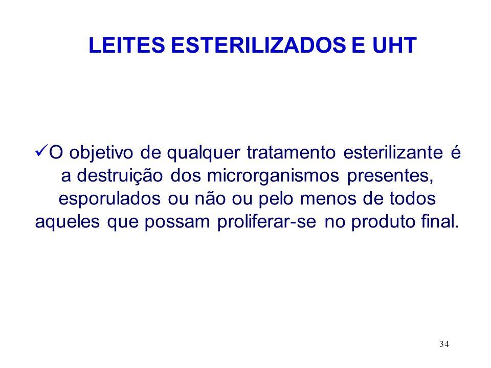 34 LEITES ESTERILIZADOS E UHT O objetivo de qualquer tratamento esterilizante é a destruição dos microrganismos presentes, esporulados ou não ou pelo
