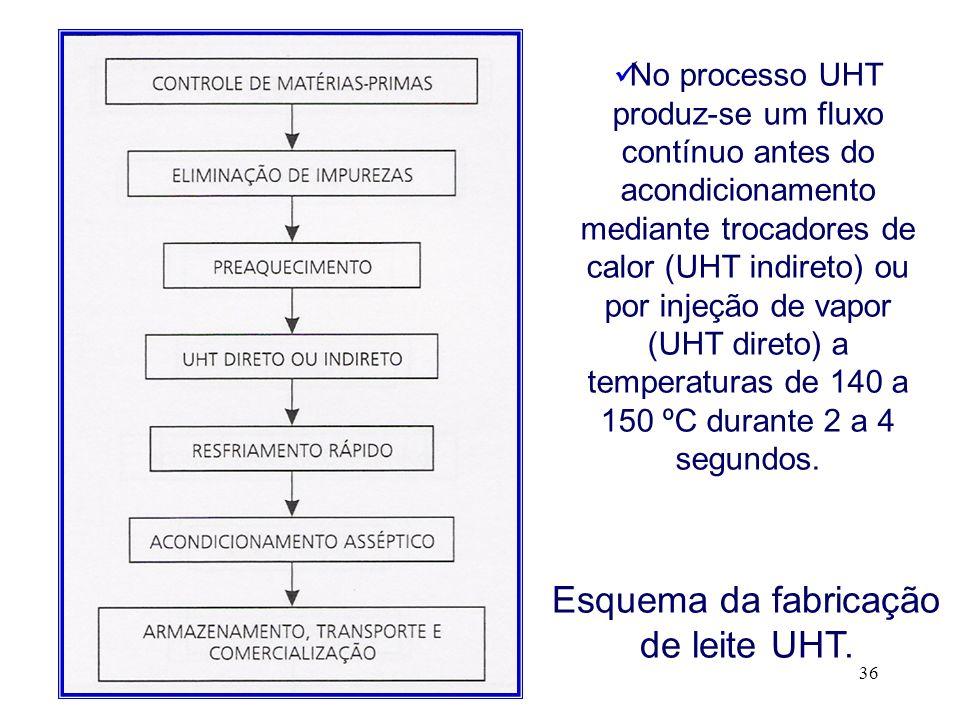 36 Esquema da fabricação de leite UHT. No processo UHT produz-se um fluxo contínuo antes do acondicionamento mediante trocadores de calor (UHT indiret