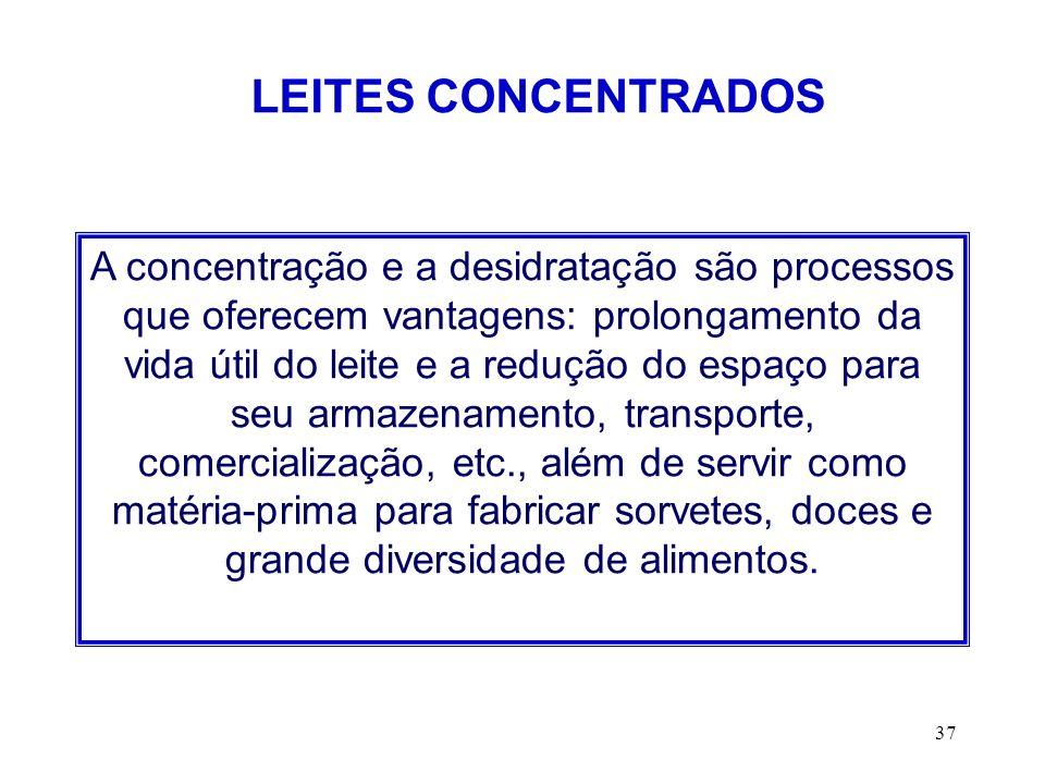 37 LEITES CONCENTRADOS A concentração e a desidratação são processos que oferecem vantagens: prolongamento da vida útil do leite e a redução do espaço