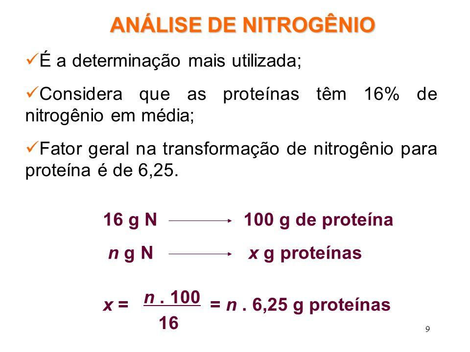 9 ANÁLISE DE NITROGÊNIO É a determinação mais utilizada; Considera que as proteínas têm 16% de nitrogênio em média; Fator geral na transformação de ni
