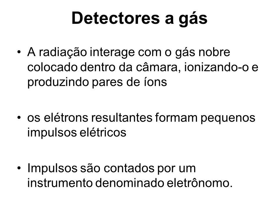 Detectores a gás A radiação interage com o gás nobre colocado dentro da câmara, ionizando-o e produzindo pares de íons os elétrons resultantes formam pequenos impulsos elétricos Impulsos são contados por um instrumento denominado eletrônomo.