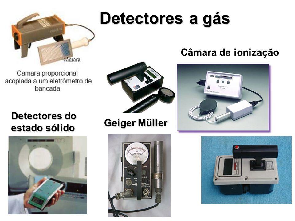 Detectores cintiladores A radiação interage com um tipo de cristal, geralmente Iodeto de Sódio; ocorre a emissão de fótons de luz, que são convertidos em sinais elétricos e, posteriormente contados São geralmente utilizados em gama - câmaras para exames de Medicina Nuclear.