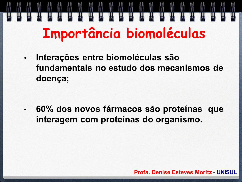 Profa. Denise Esteves Moritz - UNISUL Importância biomoléculas Interações entre biomoléculas são fundamentais no estudo dos mecanismos de doença; 60%