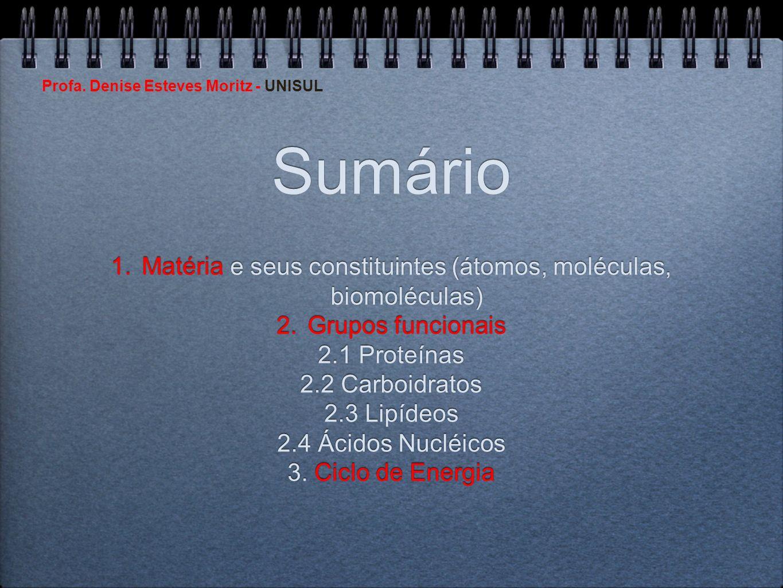 Profa. Denise Esteves Moritz - UNISUL Sumário 1.Matéria e seus constituintes (átomos, moléculas, biomoléculas) 2.Grupos funcionais 2.1 Proteínas 2.2 C