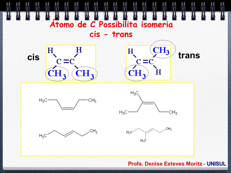 Profa. Denise Esteves Moritz - UNISUL Átomo de C Possibilita isomeria cis - trans cis trans