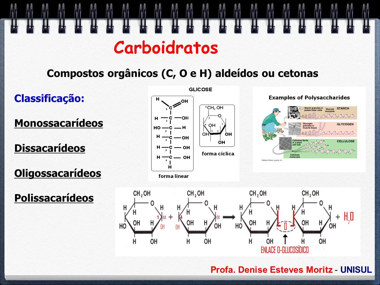 Profa. Denise Esteves Moritz - UNISUL Carboidratos Compostos orgânicos (C, O e H) aldeídos ou cetonas Classificação: Monossacarídeos Dissacarídeos Oli