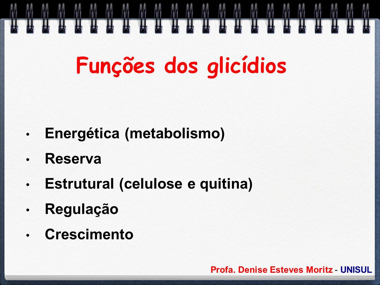 Profa. Denise Esteves Moritz - UNISUL Funções dos glicídios Energética (metabolismo) Reserva Estrutural (celulose e quitina) Regulação Crescimento