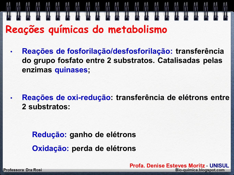 Profa. Denise Esteves Moritz - UNISUL Reações químicas do metabolismo Professora Dra Rosi Bio-quimica.blogspot.com Reações de fosforilação/desfosforil