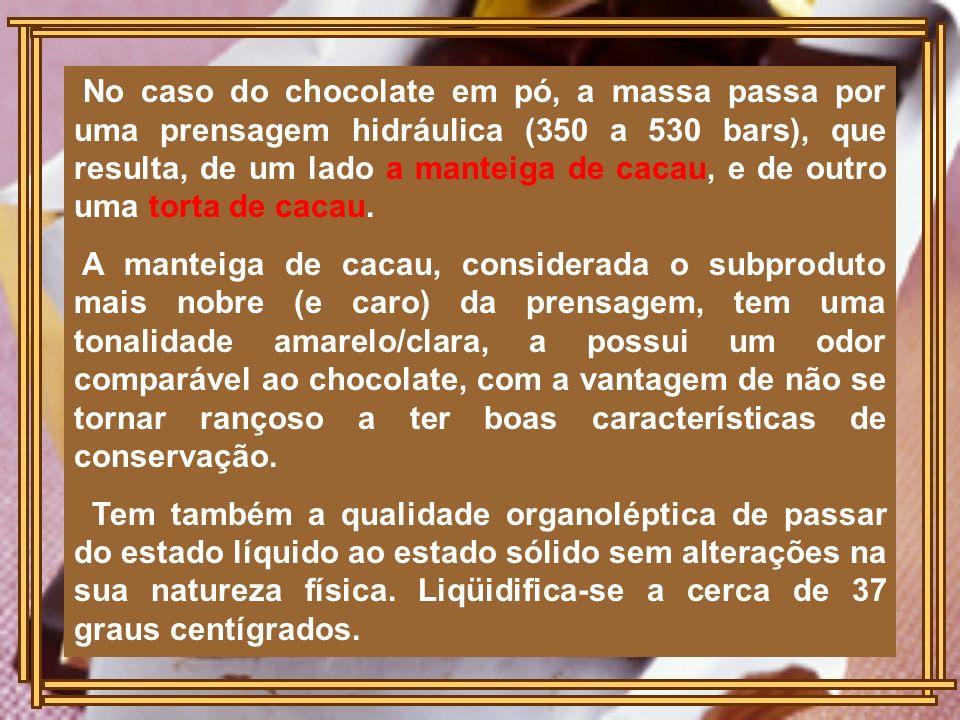 No caso do chocolate em pó, a massa passa por uma prensagem hidráulica (350 a 530 bars), que resulta, de um lado a manteiga de cacau, e de outro uma t