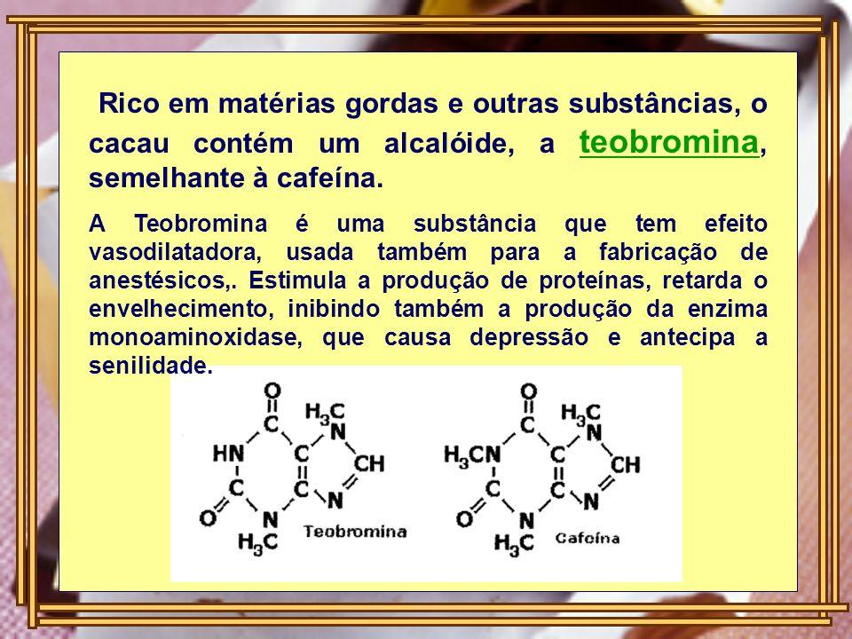 Rico em matérias gordas e outras substâncias, o cacau contém um alcalóide, a teobromina, semelhante à cafeína. A Teobromina é uma substância que tem e