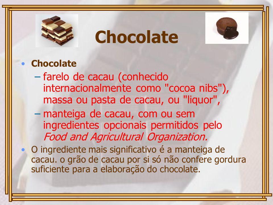 Chocolate –farelo de cacau (conhecido internacionalmente como