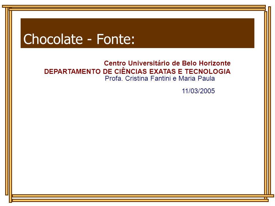 Chocolate - Fonte: DEPARTAMENTO DE CIÊNCIAS EXATAS E TECNOLOGIA Centro Universitário de Belo Horizonte DEPARTAMENTO DE CIÊNCIAS EXATAS E TECNOLOGIA Pr