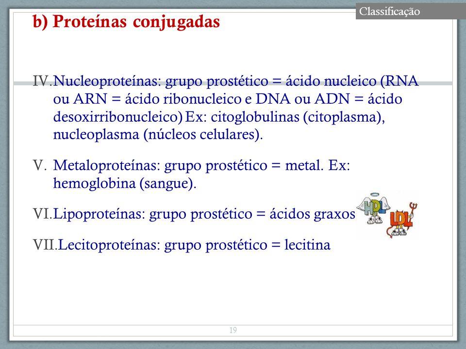 b) Proteínas conjugadas IV.Nucleoproteínas: grupo prostético = ácido nucleico (RNA ou ARN = ácido ribonucleico e DNA ou ADN = ácido desoxirribonucleic