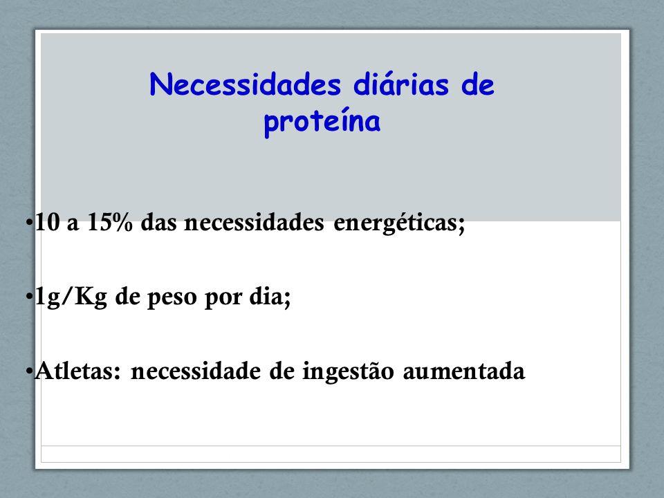 Necessidades diárias de proteína 10 a 15% das necessidades energéticas; 1g/Kg de peso por dia; Atletas: necessidade de ingestão aumentada
