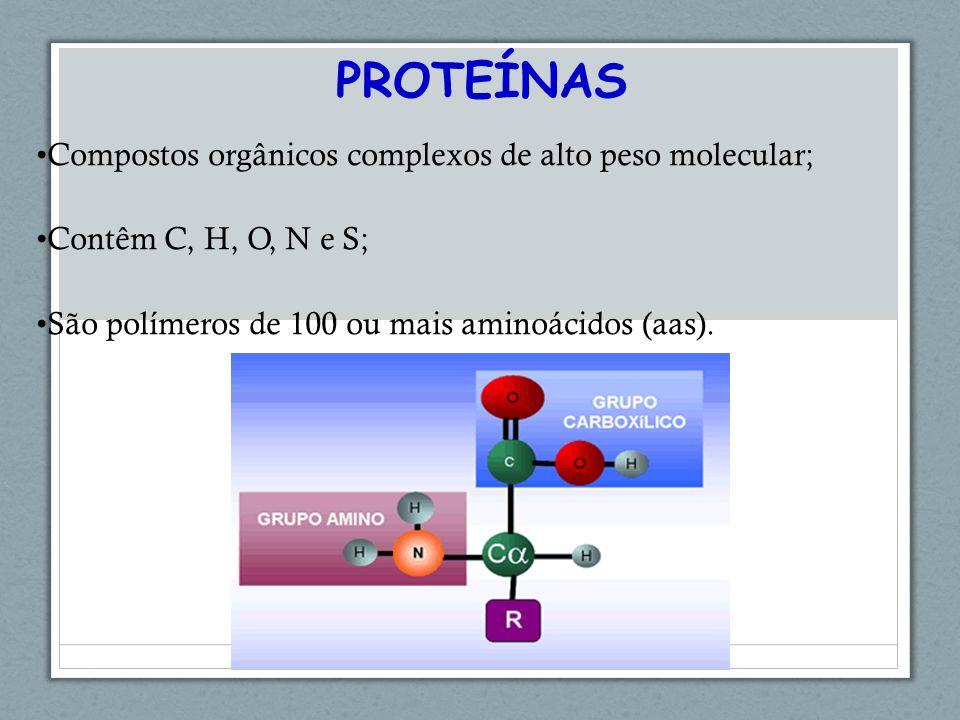 Compostos orgânicos complexos de alto peso molecular; Contêm C, H, O, N e S; São polímeros de 100 ou mais aminoácidos (aas).