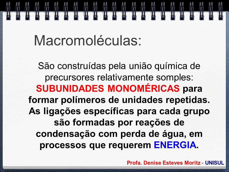 Macromoléculas: São construídas pela união química de precursores relativamente somples: SUBUNIDADES MONOMÉRICAS para formar polímeros de unidades rep