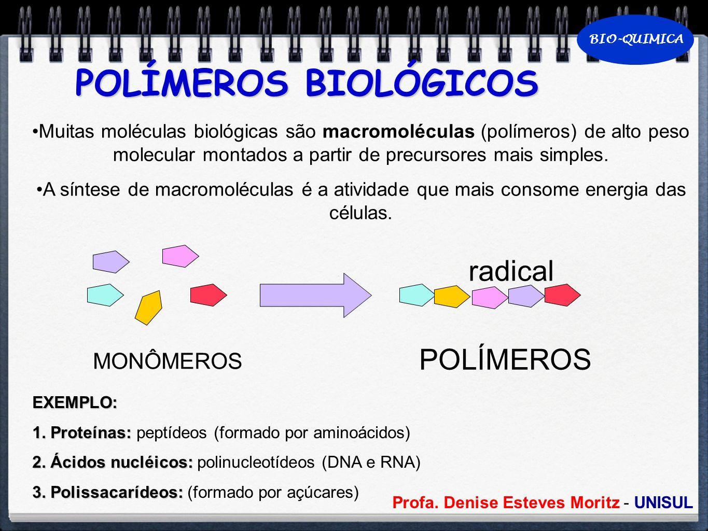 Profa. Denise Esteves Moritz - UNISUL BIO-QUIMICA POLÍMEROS BIOLÓGICOS Muitas moléculas biológicas são macromoléculas (polímeros) de alto peso molecul