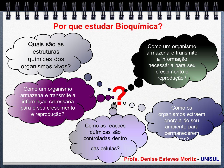 Profa. Denise Esteves Moritz - UNISUL Por que estudar Bioquímica? ? Como um organismo armazena e transmite a informação necessária para seu cresciment