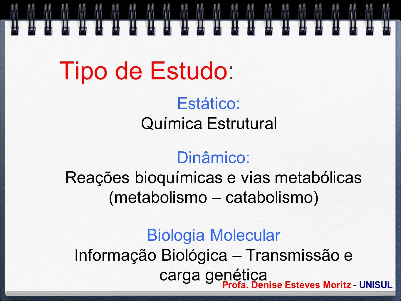 Profa. Denise Esteves Moritz - UNISUL Tipo de Estudo: Estático: Química Estrutural Dinâmico: Reações bioquímicas e vias metabólicas (metabolismo – cat