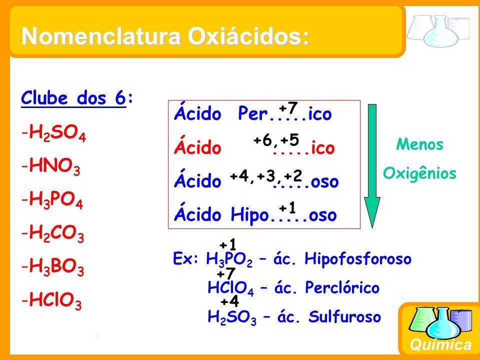Prof. Busato Química Ácido Per.....ico Ácido.....ico Ácido.....oso Ácido Hipo.....oso Menos Oxigênios Ex: H 3 PO 2 – ác. Hipofosforoso HClO 4 – ác. Pe