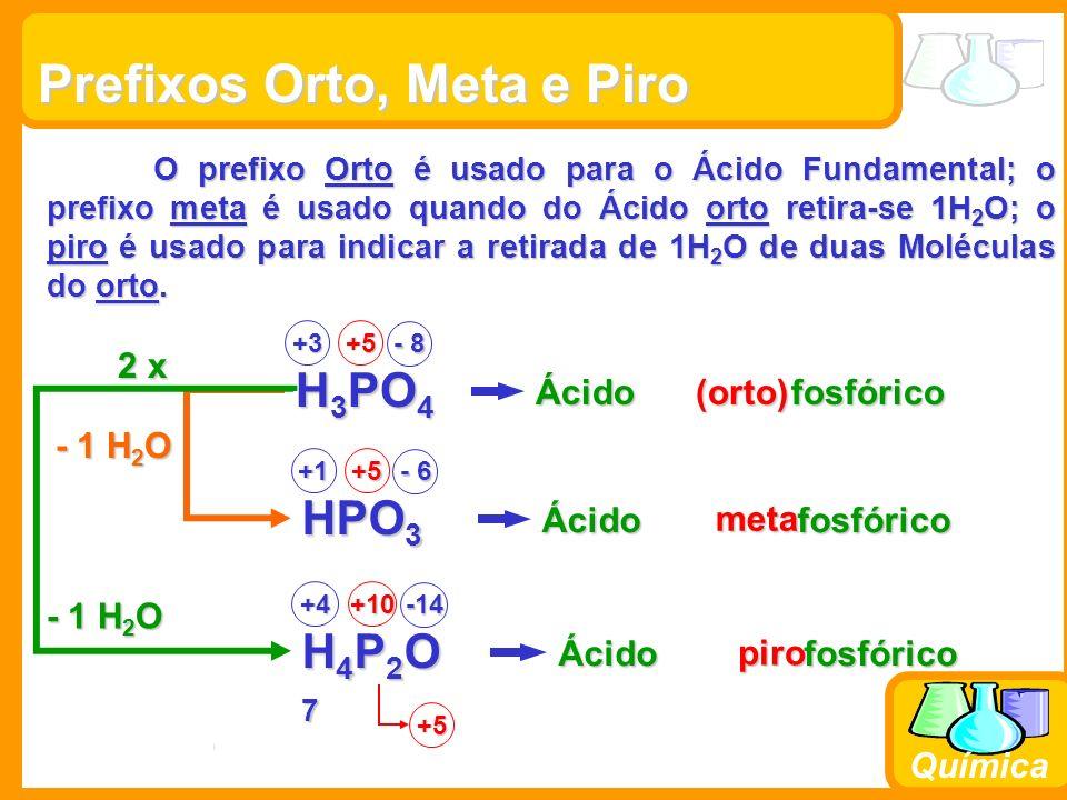 Prof. Busato Química Prefixos Orto, Meta e Piro O prefixo Orto é usado para o Ácido Fundamental; o prefixo meta é usado quando do Ácido orto retira-se