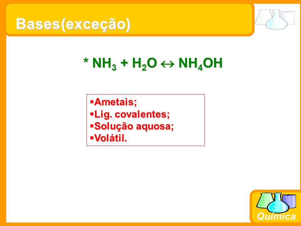 Prof. Busato Química Bases * NH 3 + H 2 O NH 4 OH (exceção) Ametais; Ametais; Lig. covalentes; Lig. covalentes; Solução aquosa; Solução aquosa; Voláti