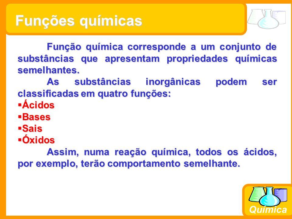 Prof. Busato Química Funções químicas Função química corresponde a um conjunto de substâncias que apresentam propriedades químicas semelhantes. As sub