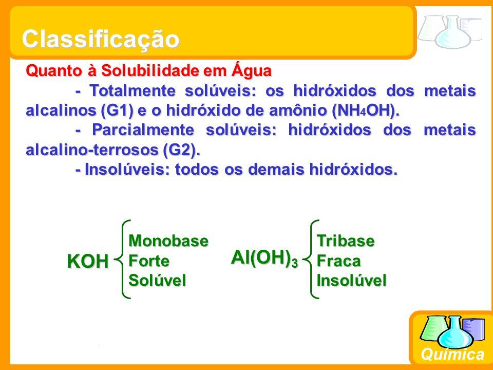 Prof. Busato Química Classificação Quanto à Solubilidade em Água - Totalmente solúveis: os hidróxidos dos metais alcalinos (G1) e o hidróxido de amôni