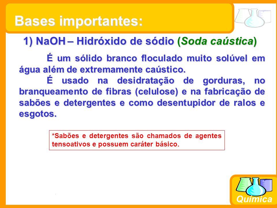 Prof. Busato Química 1) NaOH – Hidróxido de sódio (Soda caústica) É um sólido branco floculado muito solúvel em água além de extremamente caústico. É