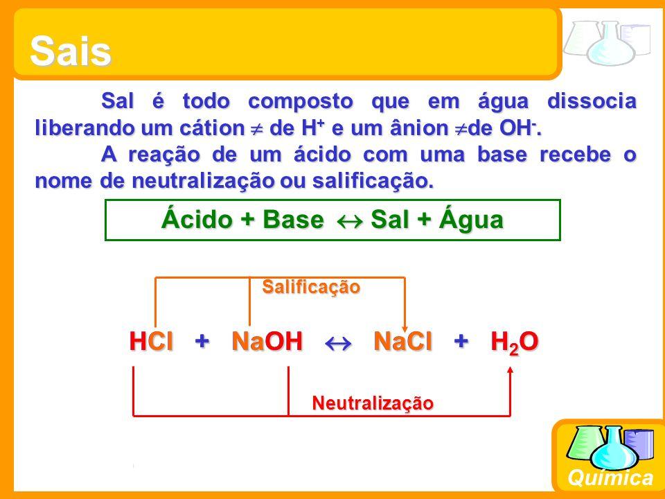 Prof. Busato Química Sais Sal é todo composto que em água dissocia liberando um cátion de H + e um ânion de OH -. A reação de um ácido com uma base re