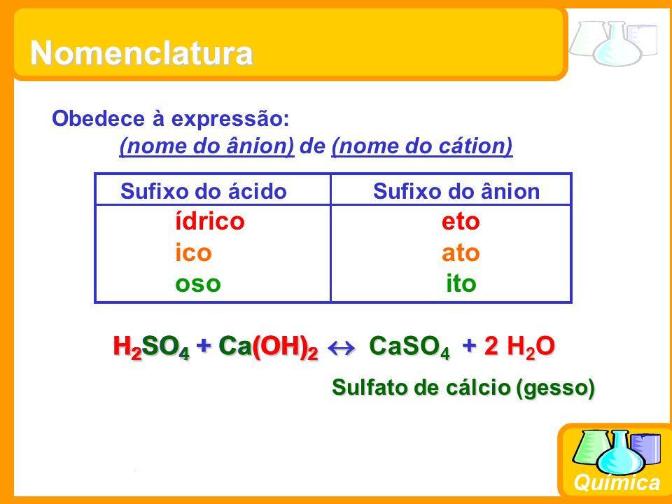 Prof. Busato Química Obedece à expressão: (nome do ânion) de (nome do cátion) Nomenclatura Sufixo do ácido Sufixo do ânion ídrico eto ico ato oso ito