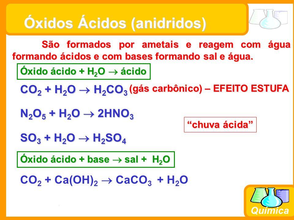 Prof. Busato Química Óxidos Ácidos (anidridos) São formados por ametais e reagem com água formando ácidos e com bases formando sal e água. CO 2 + H 2