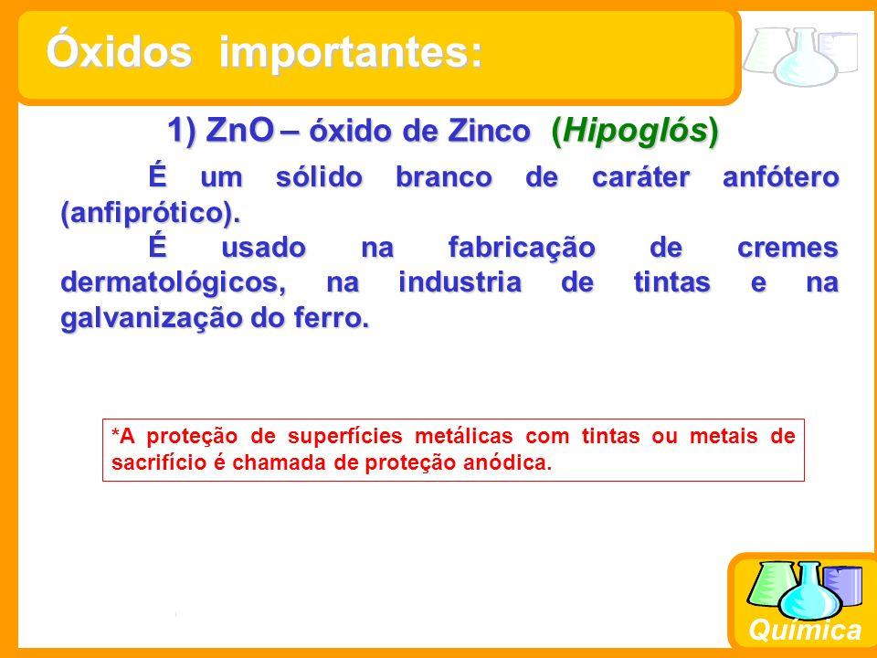 Prof. Busato Química 1) ZnO – óxido de Zinco (Hipoglós) É um sólido branco de caráter anfótero (anfiprótico). É usado na fabricação de cremes dermatol
