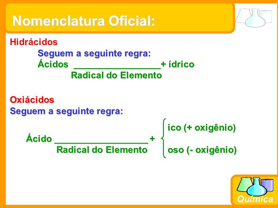 Prof. Busato Química Nomenclatura Oficial: Hidrácidos Seguem a seguinte regra: Ácidos + ídrico Radical do Elemento Radical do Elemento Oxiácidos Segue