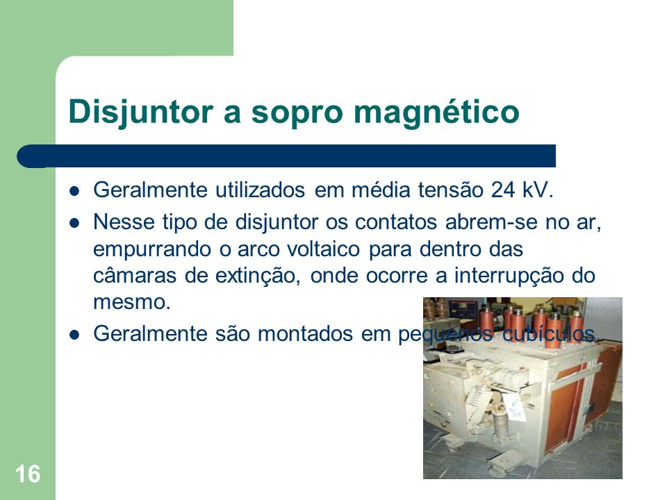 Disjuntor a sopro magnético Geralmente utilizados em média tensão 24 kV. Nesse tipo de disjuntor os contatos abrem-se no ar, empurrando o arco voltaic