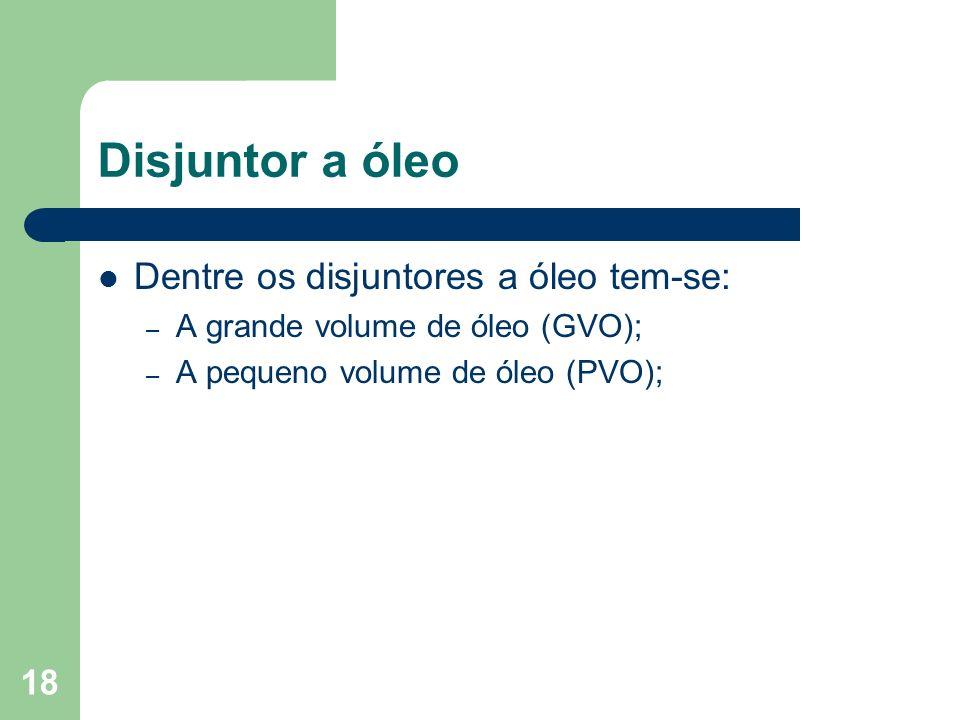 Disjuntor a óleo Dentre os disjuntores a óleo tem-se: – A grande volume de óleo (GVO); – A pequeno volume de óleo (PVO); 18