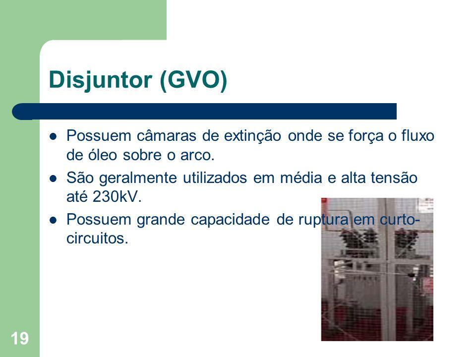 Disjuntor (GVO) Possuem câmaras de extinção onde se força o fluxo de óleo sobre o arco. São geralmente utilizados em média e alta tensão até 230kV. Po