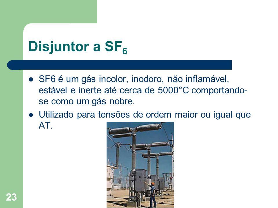 Disjuntor a SF 6 SF6 é um gás incolor, inodoro, não inflamável, estável e inerte até cerca de 5000°C comportando- se como um gás nobre. Utilizado para