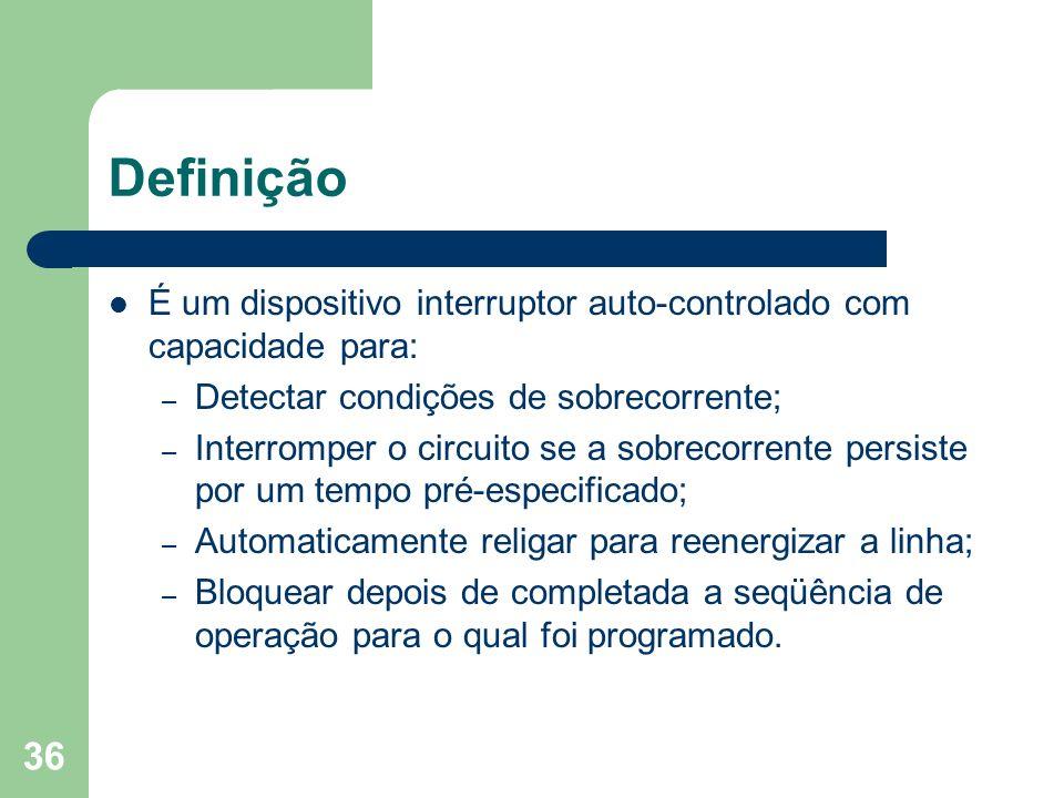 Definição É um dispositivo interruptor auto-controlado com capacidade para: – Detectar condições de sobrecorrente; – Interromper o circuito se a sobre