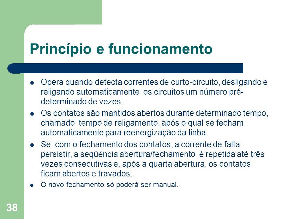 Princípio e funcionamento Opera quando detecta correntes de curto-circuito, desligando e religando automaticamente os circuitos um número pré- determi