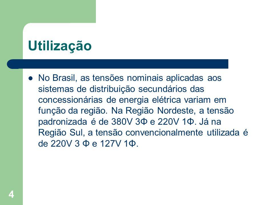 Utilização No Brasil, as tensões nominais aplicadas aos sistemas de distribuição secundários das concessionárias de energia elétrica variam em função