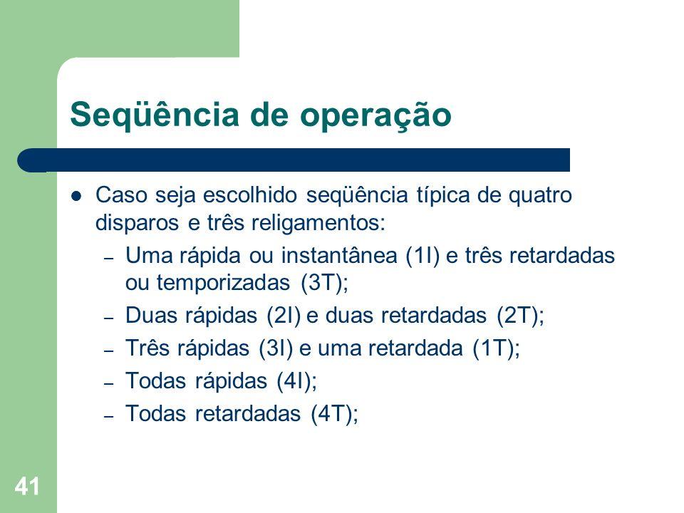 Seqüência de operação Caso seja escolhido seqüência típica de quatro disparos e três religamentos: – Uma rápida ou instantânea (1I) e três retardadas