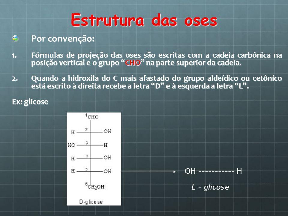 Estrutura das oses Por convenção: 1.Fórmulas de projeção das oses são escritas com a cadeia carbônica na posição vertical e o grupo CHO na parte super
