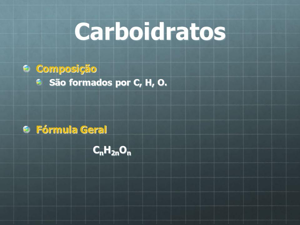 Carboidratos Composição São formados por C, H, O. Fórmula Geral C n H 2n O n C n H 2n O n