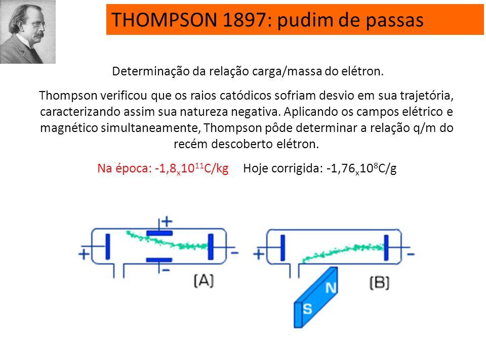 THOMPSON 1897: pudim de passas Descargas elétricas em alto vácuo (tubos de Crookes) levaram à descoberta do elétron (raios catódicos). O átomo seria u