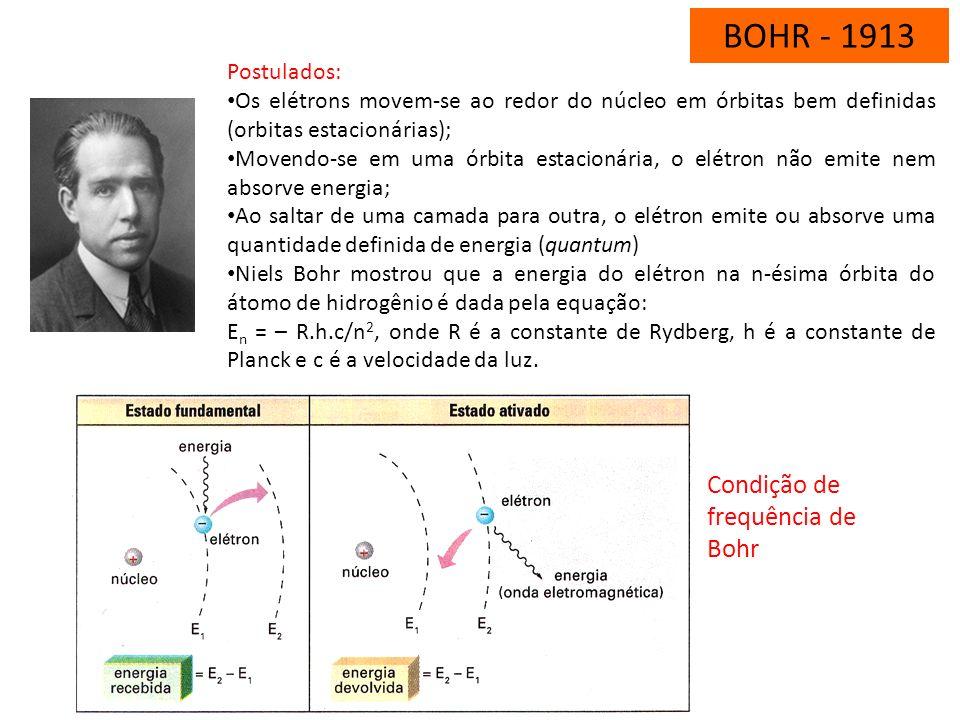 BOHR - 1913 Niels Bohr (1885-1962), físico dinamarquês, resgatou a teoria de Rutherford e sugeriu que as leis que davam conta do movimento dos grandes