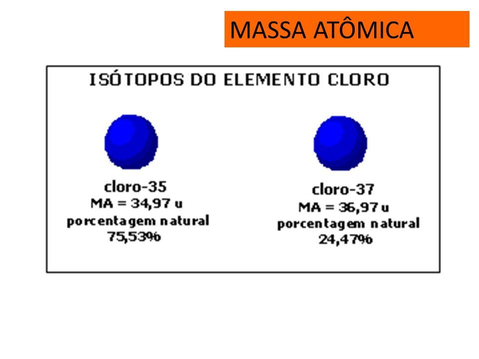 MASSA ATÔMICA É a média ponderada das massas atômicas dos átomos isótopos mais abundantes na natureza. Em termos práticos, é o mesmo que número de mas