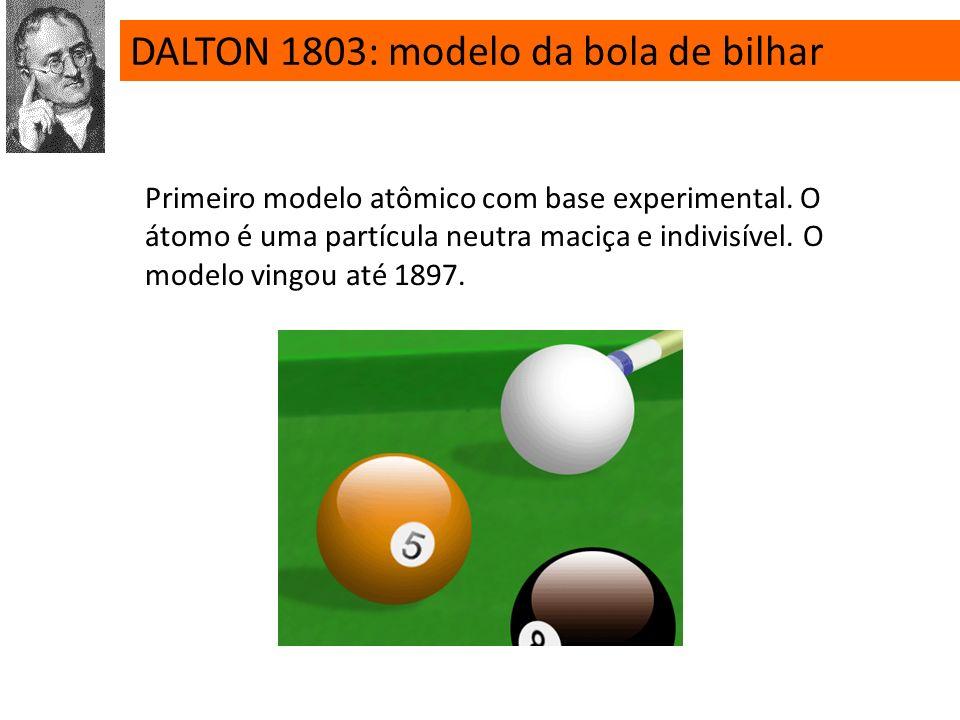 DALTON 1803: modelo da bola de bilhar Primeiro modelo atômico com base experimental.